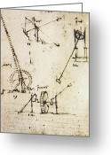 Vinci Greeting Cards - Scaling Ladder By Leonardo Da Vinci Greeting Card by 