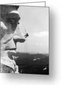 Endurance Greeting Cards - Scaling Mount Rushmore Greeting Card by Granger