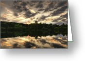 Dark Moss Green Photo Greeting Cards - Scarborough Mere Greeting Card by Svetlana Sewell