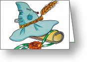 Scarecrow Greeting Cards - Scarecrow Hat From Wizard Of Oz Greeting Card by Irina Sztukowski