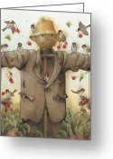 Scarecrow Greeting Cards - Scarecrow  Greeting Card by Kestutis Kasparavicius