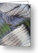 Striped Scarf Greeting Cards - Scarf from wool manual are viscous Greeting Card by Aleksandr Volkov