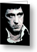 Cult Film Painting Greeting Cards - Scarface Greeting Card by Luis Ludzska