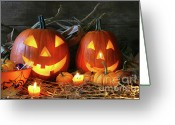 October Greeting Cards - Scarved jack-o-lanterns  Greeting Card by Sandra Cunningham