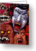 Frighten Greeting Cards - Scary Halloween Masks Greeting Card by Garry Gay