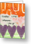 Love Mixed Media Greeting Cards - Scatter Love Greeting Card by Linda Woods