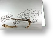 Fishing Sculpture Greeting Cards - Scattered Greeting Card by Bud Bullivant