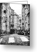 Cobblestone Street Greeting Cards - Scene de Rue de Paris Greeting Card by John Rizzuto