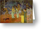 Gauguin; Paul (1848-1903) Greeting Cards - Scene from Tahitian Life Greeting Card by Paul Gauguin