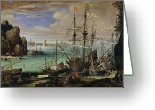 Pirates Painting Greeting Cards - Scene of a Sea Port Greeting Card by Paul Bril