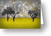 Rapeseed Greeting Cards - Scenery-Art Landscape Greeting Card by Melanie Viola