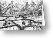 Buffalo Drawings Greeting Cards - Scenery of South China Greeting Card by Evelyn Sichrovsky