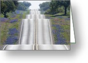 Blue Bonnets Greeting Cards - Scenic Country Road Greeting Card by Jeremy Woodhouse