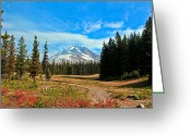 Snow Boarding Greeting Cards - Scenic Mt. Hood In Oregon Greeting Card by Athena Mckinzie