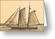 Sailboat Picture Greeting Cards - Scenic Schooner - Sepia Greeting Card by Al Powell Photography USA