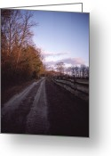Wood Fences Greeting Cards - Scenic View Of A Dirt Road Greeting Card by Sam Abell