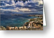 White Clouds Greeting Cards - Scenic view of eastern Crete Greeting Card by David Smith