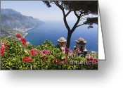 Coastal Landscape Greeting Cards - Scenic Vista of the Amalfi Coast at Ravello Greeting Card by George Oze