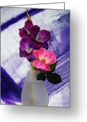 Purple Gladiola Greeting Cards - Scentual Tranquility Greeting Card by Marsha Heiken