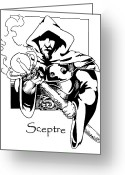Wizard Drawings Greeting Cards - Sceptre Greeting Card by John Haldane