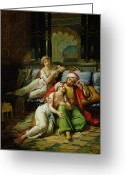 Orientalist Greeting Cards - Scheherazade Greeting Card by Paul Emile Detouche