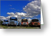 Graveyards Greeting Cards - School Bus Graveyard I Greeting Card by Elizabeth Hoskinson