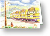 School Days Greeting Cards - School Bussiness Greeting Card by Kip DeVore