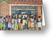 Brick Schools Greeting Cards - School Class Burkina Faso Series Greeting Card by Reb Frost