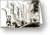 Gray-scale Greeting Cards - School Days at Ursuline II Greeting Card by Kip DeVore
