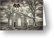 Sepia Greeting Cards - School House Greeting Card by Scott Norris