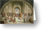 Renaissance Greeting Cards - School of Athens from the Stanza della Segnatura Greeting Card by Raphael