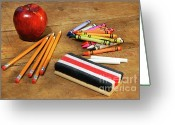Crayons Greeting Cards - School supplies  Greeting Card by Sandra Cunningham