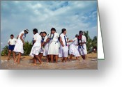 Schoolgirl Photo Greeting Cards - School Trip to Beach II Greeting Card by Rafa Rivas