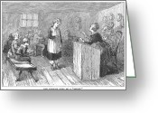Schoolgirl Photo Greeting Cards - Schoolhouse, 1877 Greeting Card by Granger