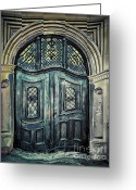 Entrance Door Greeting Cards - Schoolhouse Entrance Greeting Card by Jutta Maria Pusl