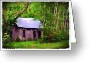 Morning Mist Images Greeting Cards - Schoolhouse in Lost Valley Greeting Card by Judi Bagwell