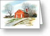 Schoolhouse Painting Greeting Cards - Schoolhouse in winter Greeting Card by Rick Mock