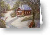 Schoolhouse Painting Greeting Cards - Schools Out Greeting Card by Charles Vaughn