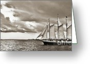 Historic Lighthouse Greeting Cards - Schooner Pride Tallship Charleston SC Greeting Card by Dustin K Ryan