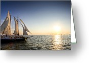 Coast Guard Greeting Cards - Schooner Welcome Sunset Charleston SC Greeting Card by Dustin K Ryan
