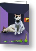 Quantum Mechanics Greeting Cards - Schrodingers Cat Experiment Greeting Card by Mehau Kulyk