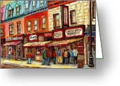 Montreal Cityscenes Greeting Cards - Schwartz The Musical Painting By Carole Spandau Montreal Streetscene Artist Greeting Card by Carole Spandau