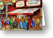 Montreal Summer Scenes Greeting Cards - Schwartzs Deli Lineup Greeting Card by Carole Spandau