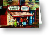 Montreal Citystreets Greeting Cards - Schwartzs Famous Smoked Meat Greeting Card by Carole Spandau