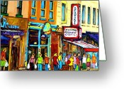 Hebrew Delis Greeting Cards - Schwartzs Hebrew Deli On St. Laurent In Montreal Greeting Card by Carole Spandau