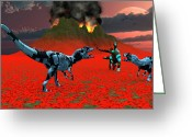 Dinosaurs Greeting Cards - Sci-fi Scene Of A Pair Of Allosaurus Greeting Card by Mark Stevenson