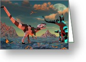 Dinosaurs Greeting Cards - Sci-fi Scene Of Allosaurus Greeting Card by Mark Stevenson