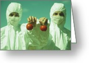 Activists Greeting Cards - Scientists Holding Gm Tomatoes Greeting Card by Cristina Pedrazzini