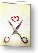 Pointed Greeting Cards - Scissors And Heart Greeting Card by Joana Kruse