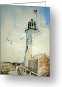 Ocean Scenes Greeting Cards - Scituate Light Greeting Card by P Anthony Visco